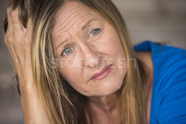 Stressed lonely depressed woman portrait Stock photo © roboriginal