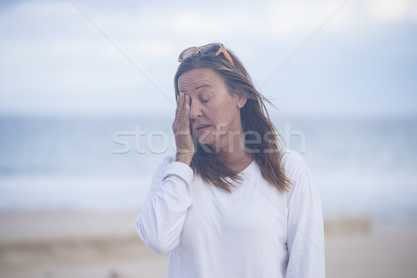 Tired woman menopause depression Stock photo © roboriginal