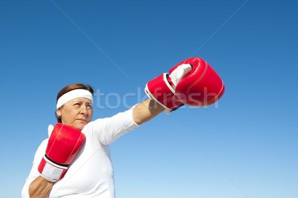アクティブ シニア 女性 空 魅力的な 行使 ストックフォト © roboriginal