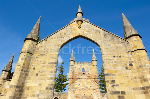 Port Arthur Convict Church Ruin Museum Tasmania Stock photo © roboriginal