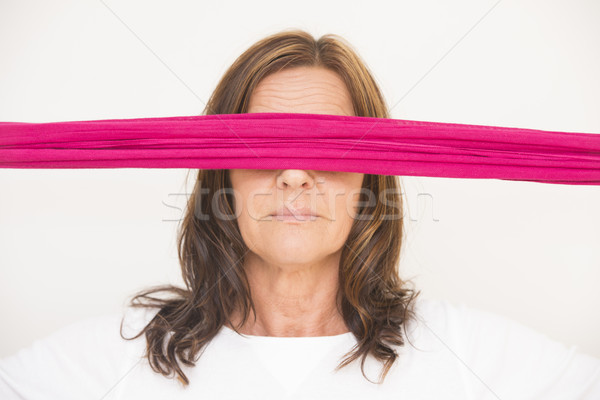 Mature woman with blindfold Stock photo © roboriginal