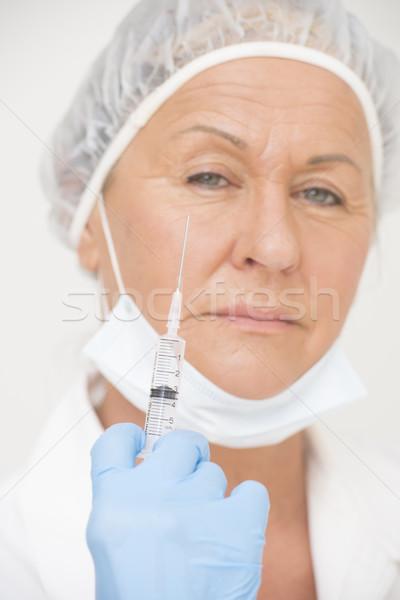 Kobiet szpitala pielęgniarki strzykawki portret poważny Zdjęcia stock © roboriginal