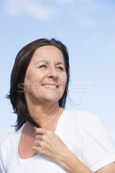 Encajar saludable amistoso maduro jubilado mujer Foto stock © roboriginal