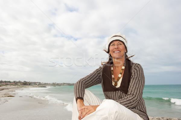 Сток-фото: счастливым · океана · Storm · привлекательный · старший
