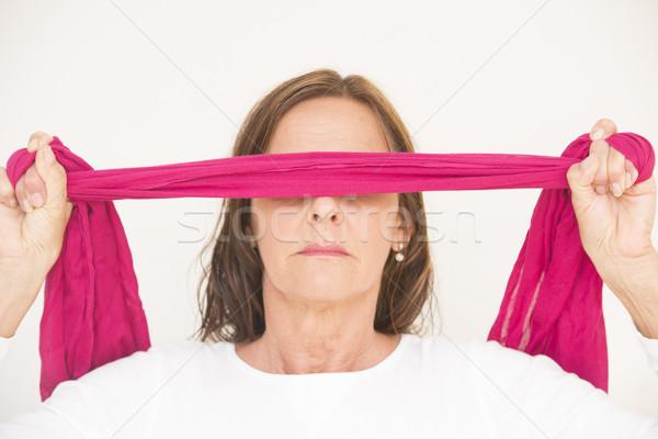目隠し 成熟した女性 肖像 魅力的な ピンクリボン ポーズ ストックフォト © roboriginal