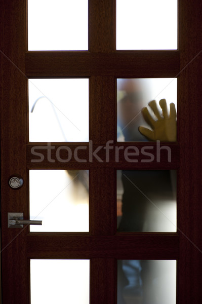 Thief with crowbar at house door robbery Stock photo © roboriginal