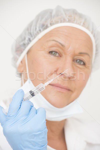 Foto d'archivio: Infermiera · iniezione · vaccinazione · ritratto · amichevole · professionali
