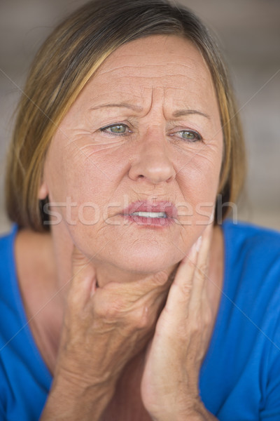 Woman in pain with throat ache from cold Stock photo © roboriginal