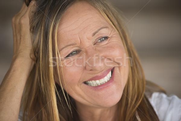 Portrait joyful smiling confident mature woman Stock photo © roboriginal