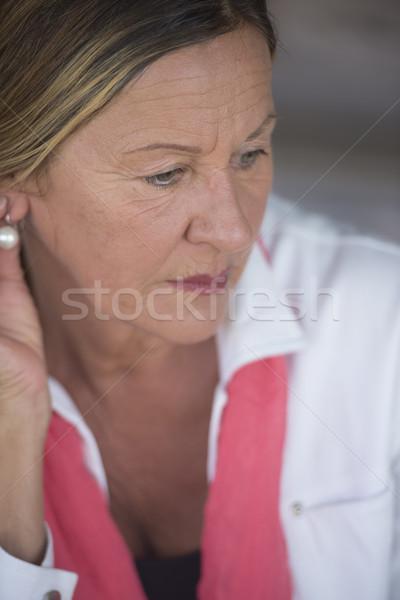 Sad lonely depressed mature woman portrait Stock photo © roboriginal