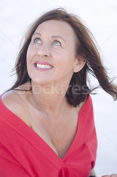 Portret gelukkig rijpe vrouw geïsoleerd witte sexy Stockfoto © roboriginal