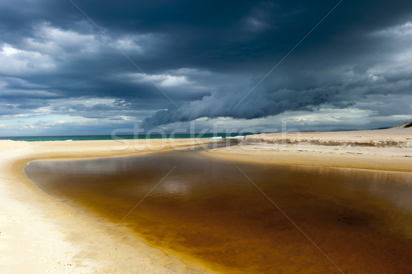 Windy weather storm cloud formation ocean beach Stock photo © roboriginal