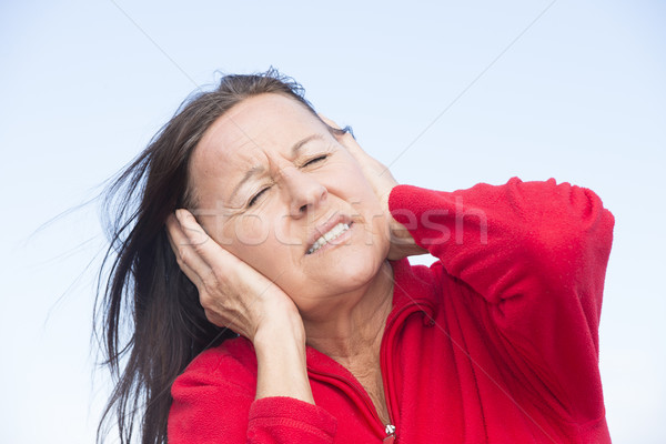 Stressed worried woman with hands on ears Stock photo © roboriginal