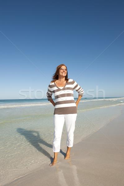 Güzel olgun kadın emeklilik portre aktif Stok fotoğraf © roboriginal