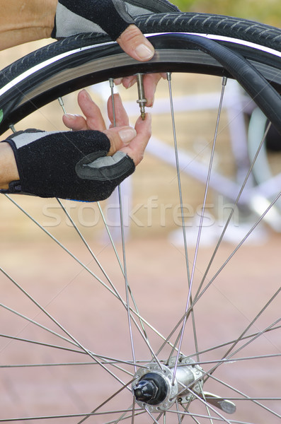 Repair flat tyre mountain bike Stock photo © roboriginal