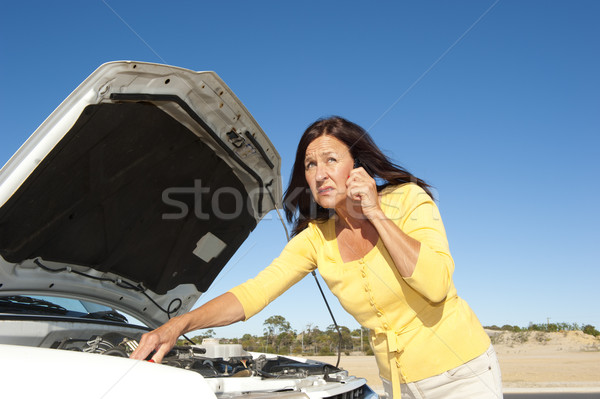 Stressed woman car breakdown Stock photo © roboriginal