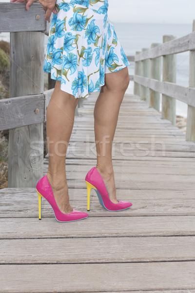 Beautiful legs in high heel shoes outdoor. Stock photo © roboriginal