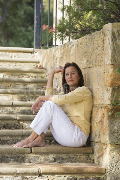 Emeryturę kobieta zewnątrz portret atrakcyjny Zdjęcia stock © roboriginal