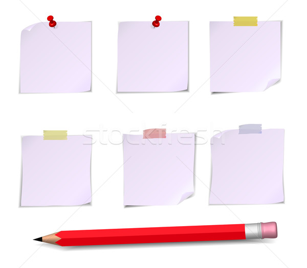 Adhesive Notes with pin, scotch and pencil Stock photo © robuart