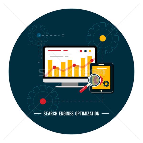 Seo optimisation programmation processus web analytics Photo stock © robuart