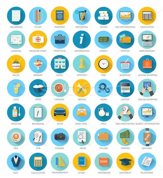 Szett háló mobil applikációk nagy irodai munka Stock fotó © robuart