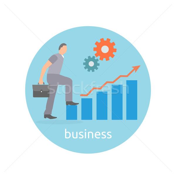 Siker elhatározás üzlet üzletember lépés felfelé Stock fotó © robuart