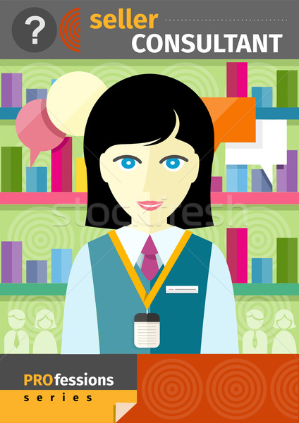 Female seller consultant behind counter in shop Stock photo © robuart