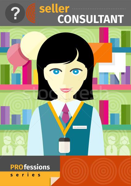 女性 販売者 コンサルタント 後ろ カウンタ ショップ ストックフォト © robuart