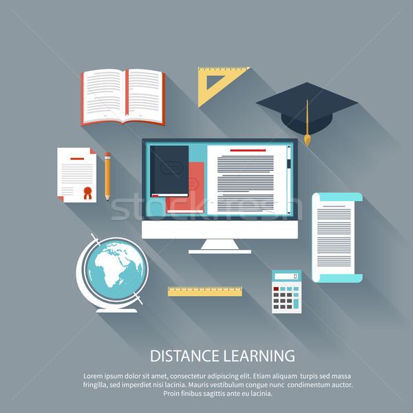 Távolság tanul internet szolgáltatások ötlet terv Stock fotó © robuart