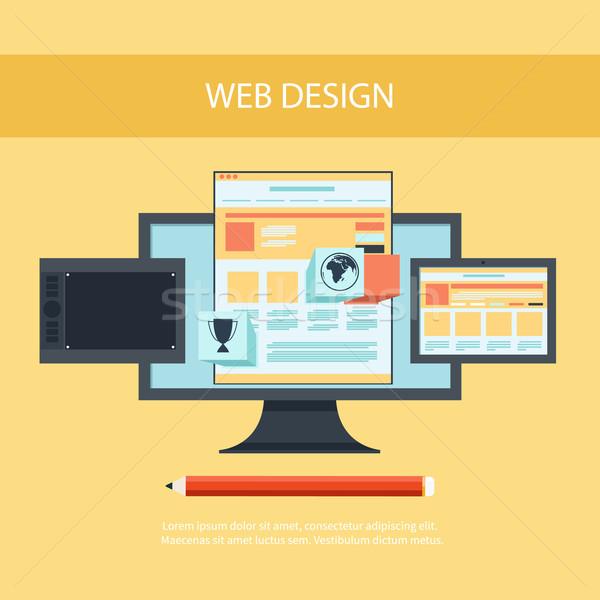 Web tasarım program dizayn mimari bilgisayar monitörü ekran Stok fotoğraf © robuart