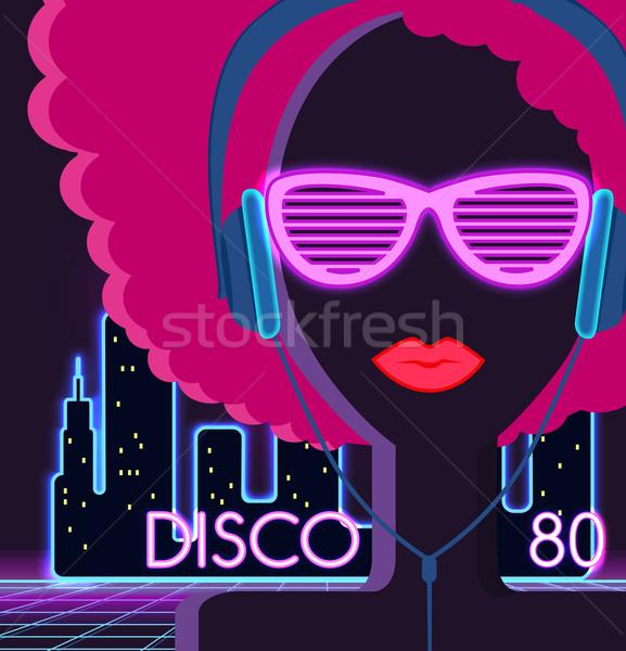 Disco 80s. Girl with Headphones Stock photo © robuart