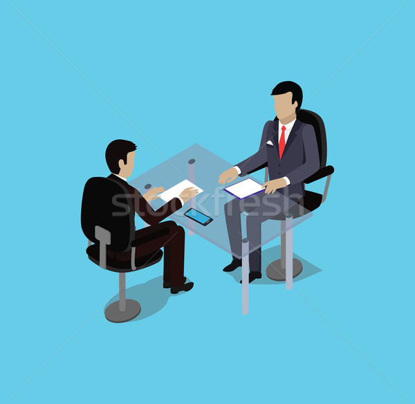 Isometric Hiring Recruiting Interview Stock photo © robuart