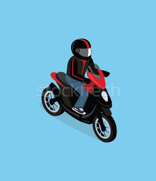 Isometric 3D Motorbiker with Motorcycle Stock photo © robuart