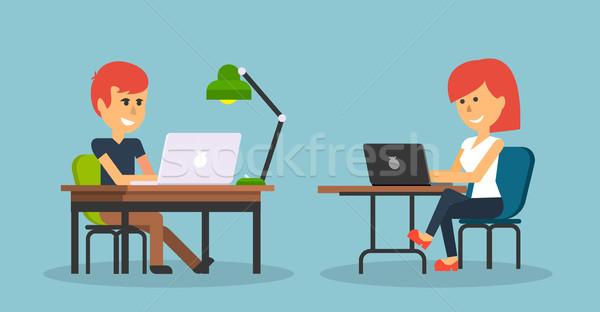 Foto stock: Pessoas · trabalhar · escritório · projeto · mulher · de · negócios · homem