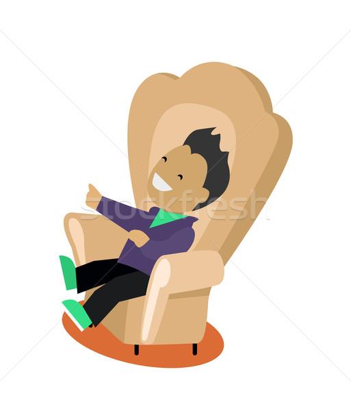 Karikatúra terv fiatalember ül kényelmes szék Stock fotó © robuart