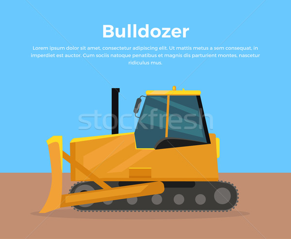Bulldozer Banner Flat Design Vector Illustration Stock photo © robuart