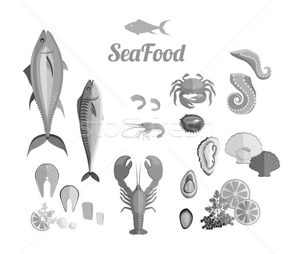 Zeevruchten ingesteld ontwerp vis krab kreeft Stockfoto © robuart
