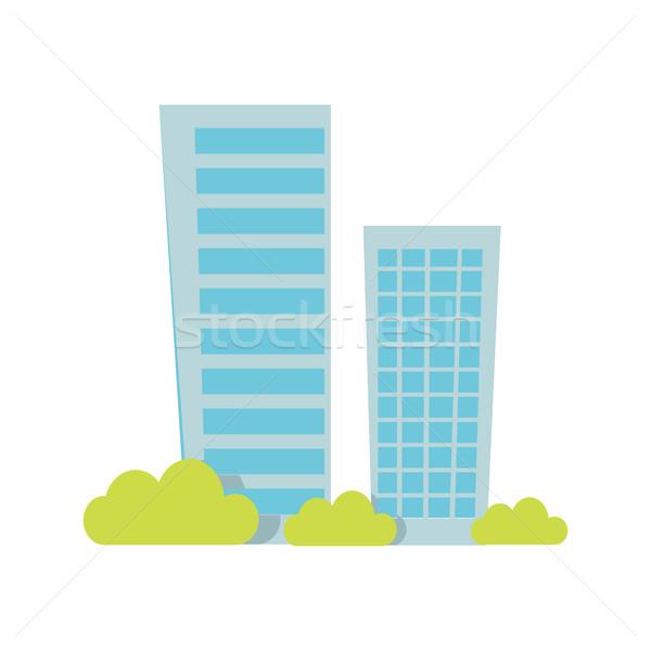 Modern társasház építészet lakás ikonok épület Stock fotó © robuart