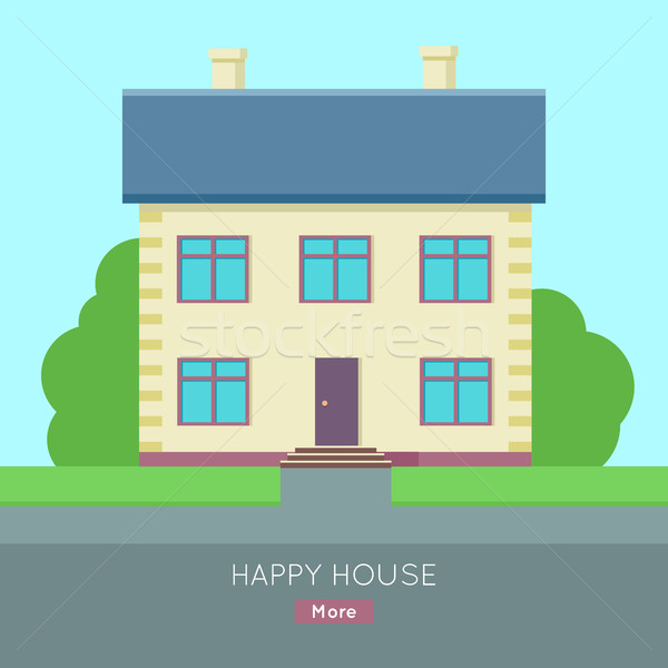 Happy House Vector Web Banner in Flat Design. Stock photo © robuart