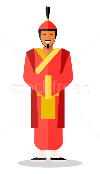 Ancient Chinese Soldier in Red Clothes on White Stock photo © robuart