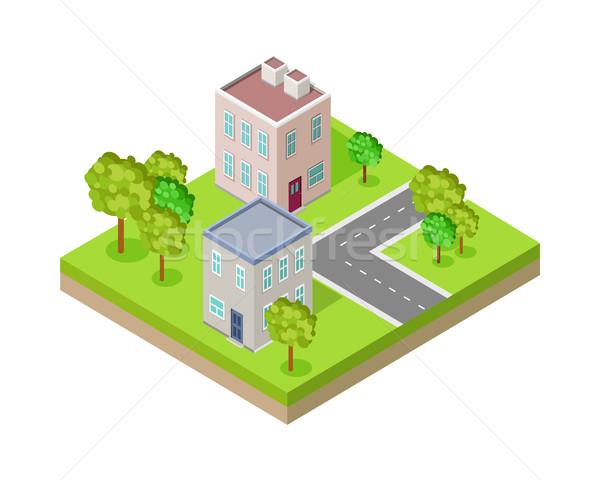 Straat fragment isometrische projectie vector stedelijke Stockfoto © robuart
