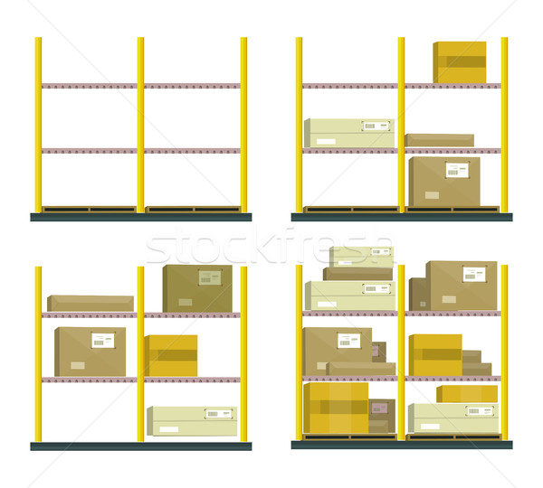 Set Of Racks With Boxes In Flat Design Stock photo © robuart