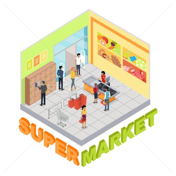 Süpermarket iç izometrik projeksiyon ticari oda Stok fotoğraf © robuart