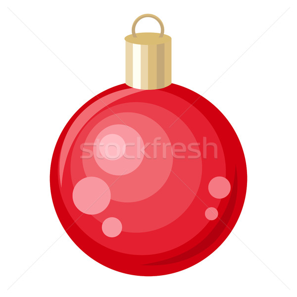 Christmas Tree Red Toy. Flat Style Design. Vector Stock photo © robuart