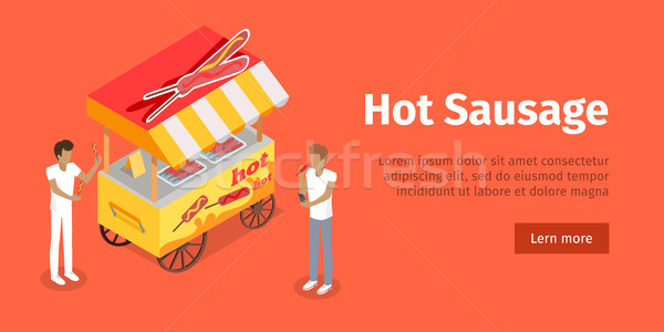 Hot Sausage Trolley in Isometric Projection Style Stock photo © robuart