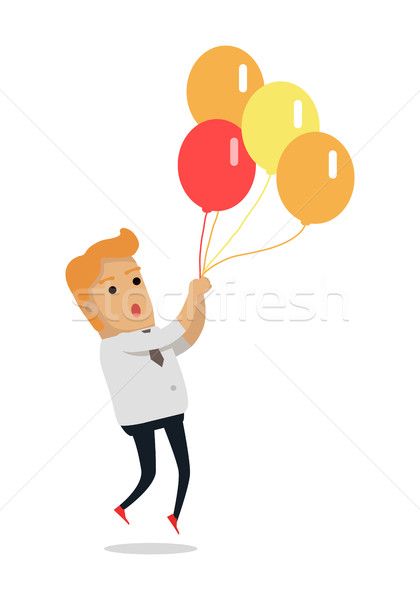 Man Flying on Color Balloons Vector Illustration Stock photo © robuart