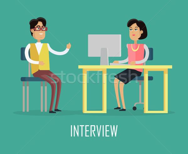 Ofis işleri örnek dizayn vektör kadın tablo Stok fotoğraf © robuart