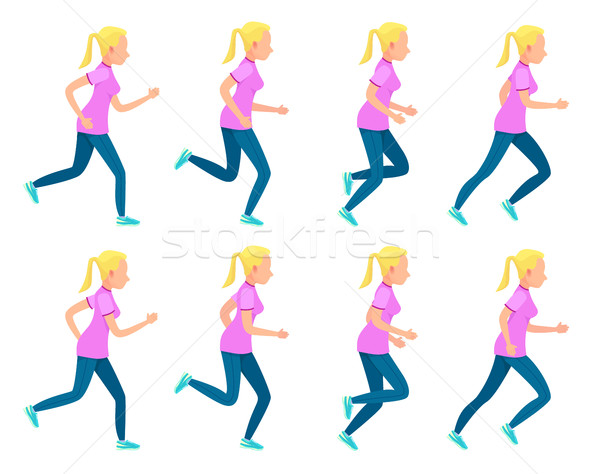 Set of Running Girl. Variety of Sport Movements Stock photo © robuart