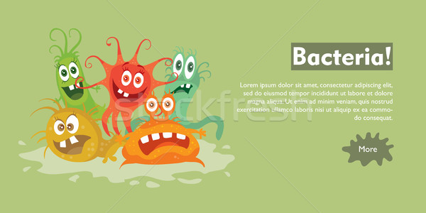 Bacteria Flat Cartoon Vector Web Banner Stock photo © robuart