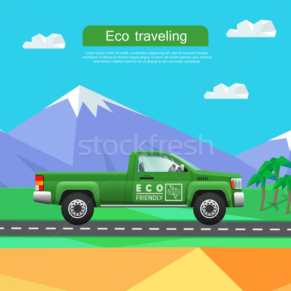 Transport. Green Pickup on Road near Mountains Stock photo © robuart